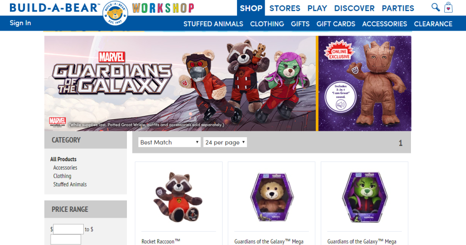 build a bear guardians of the galaxy
